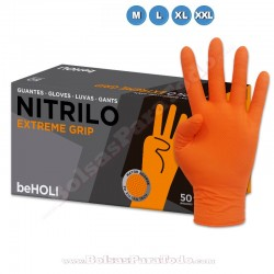 50 Guantes de Nitrilo Naranja Extreme Grip