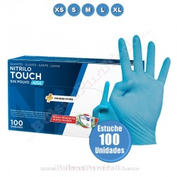 100 Guantes de Nitrilo Azul Touch